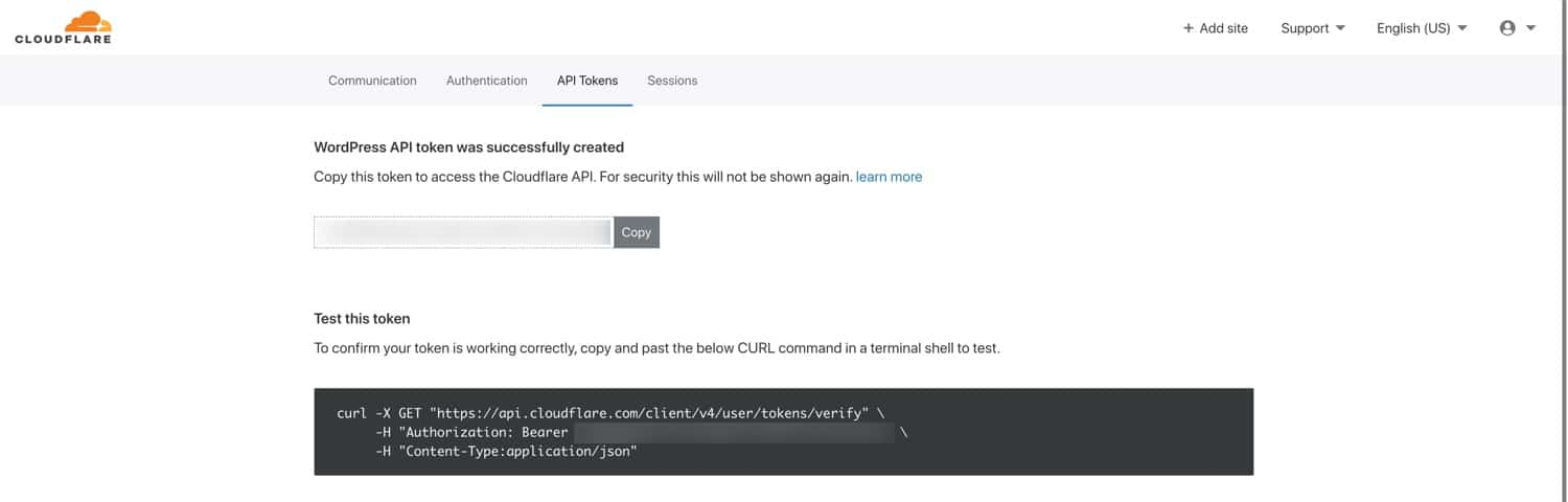 Record your Cloudflare API token in a safe place.