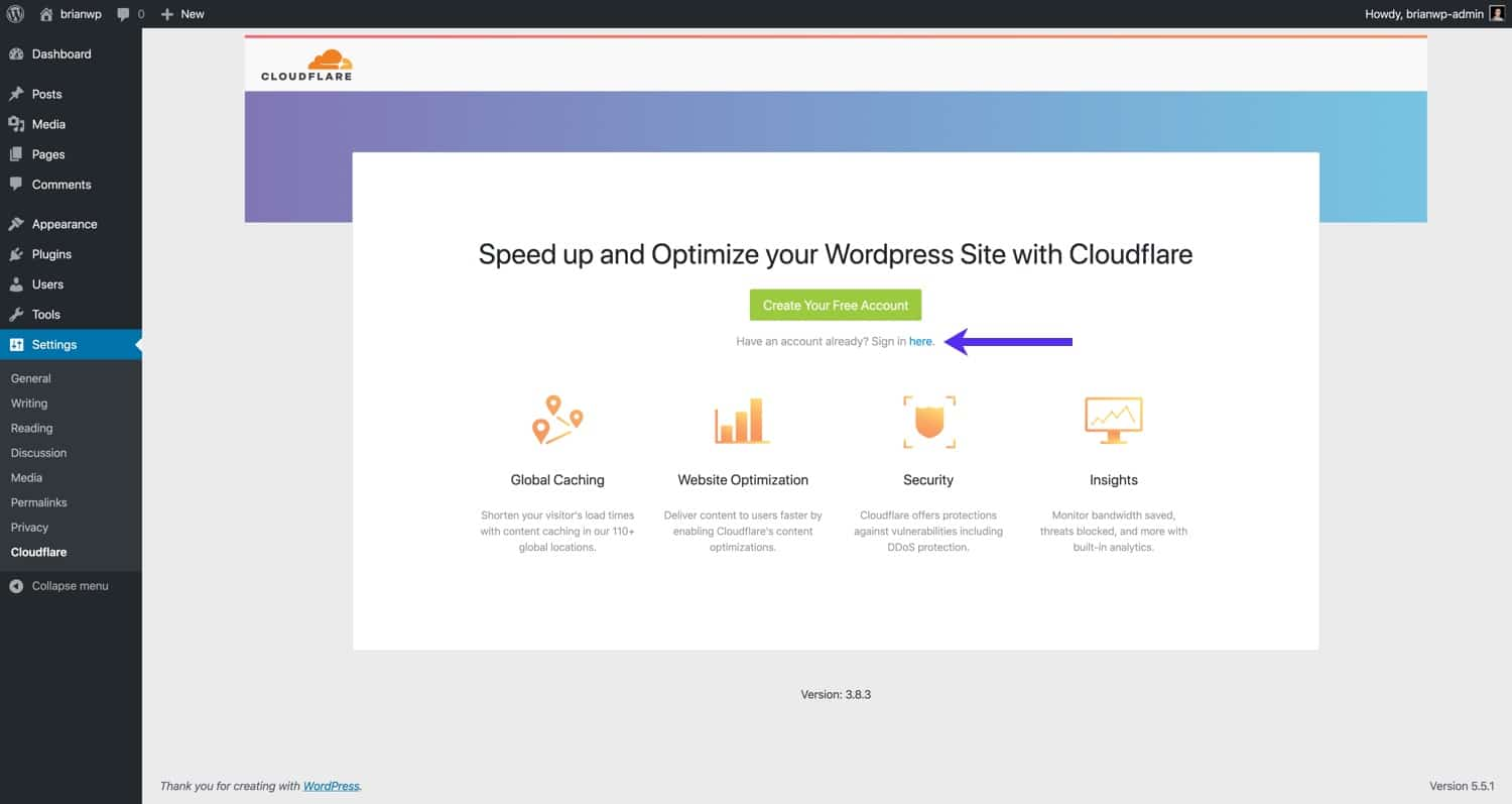 Sign in to your Cloudflare account.