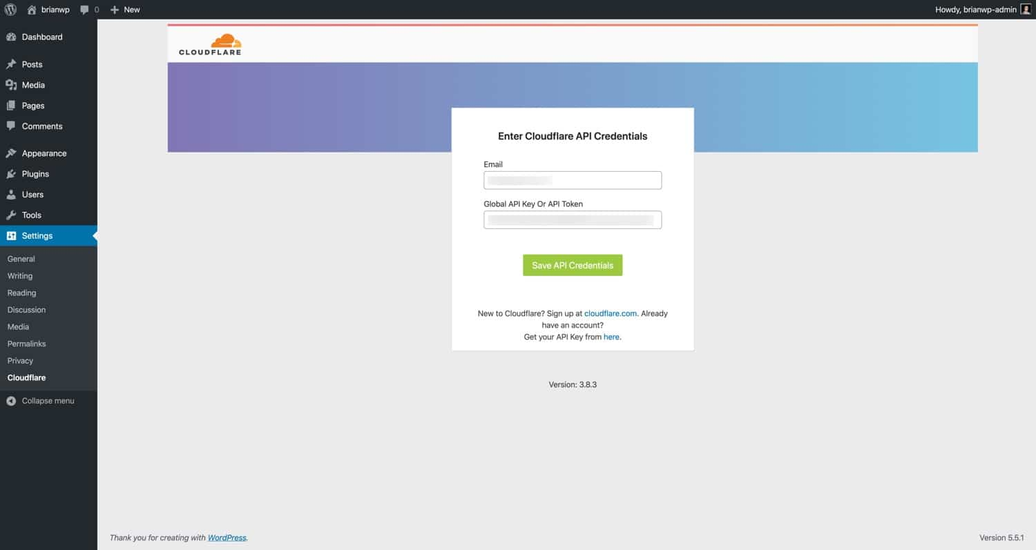 Enter your email address and Cloudflare API token.