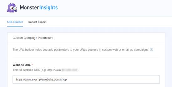The MonsterInsights URL builder tool