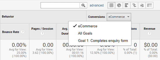 Viewing your eCommerce statistics for your campaigns in Google Analytics