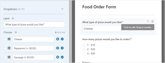 Editing a form field in WPForms