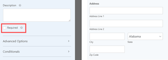Making the address a required field on your form