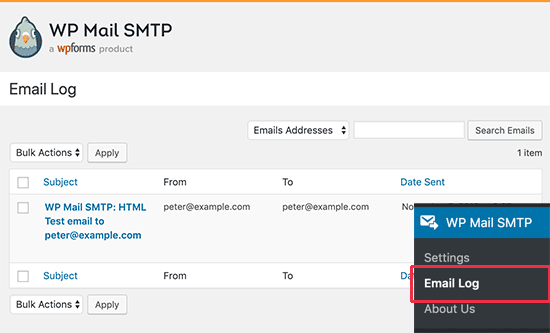 Email log entries