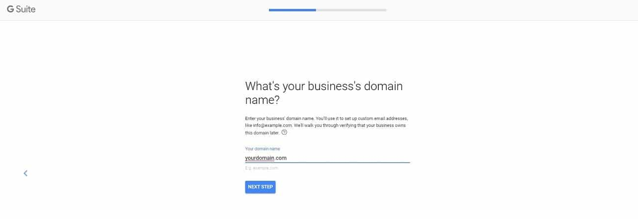 g suite signup domain name