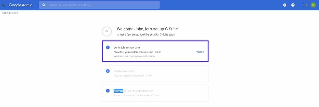 setup g suite account verify domain