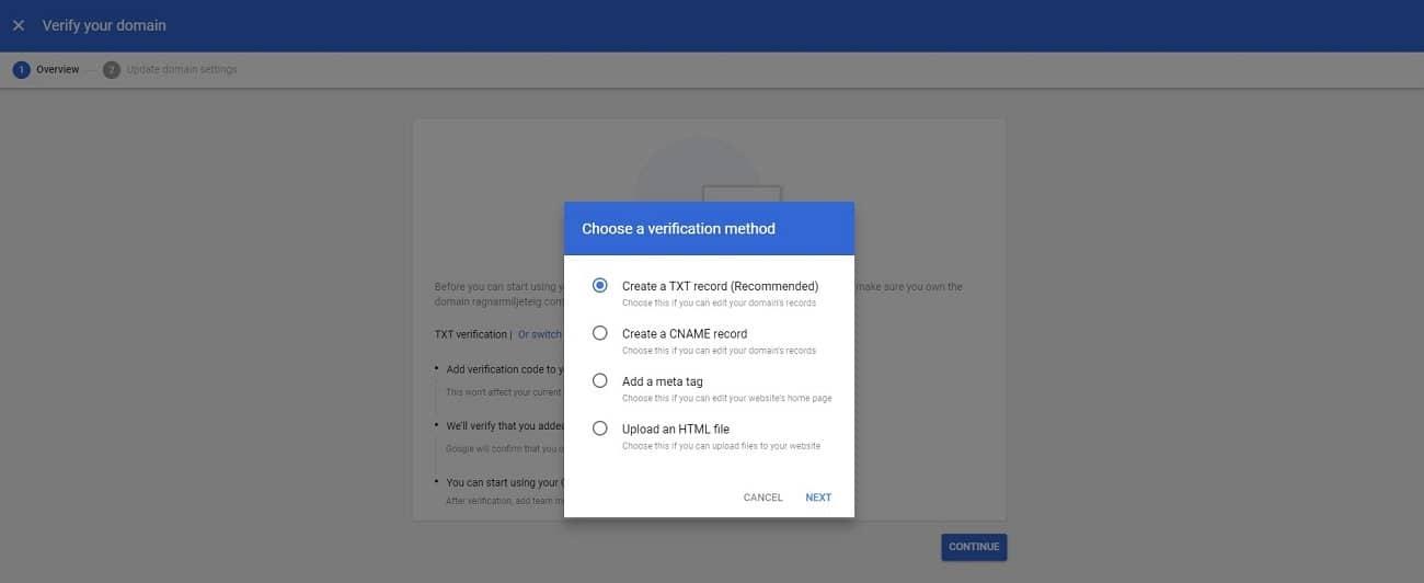 setup g suite account verify domain 2