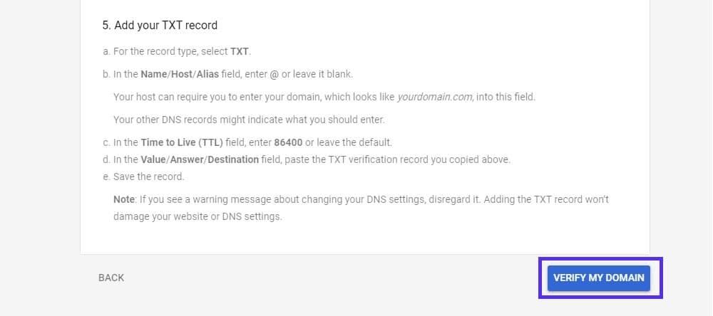 setup g suite account verify domain 4