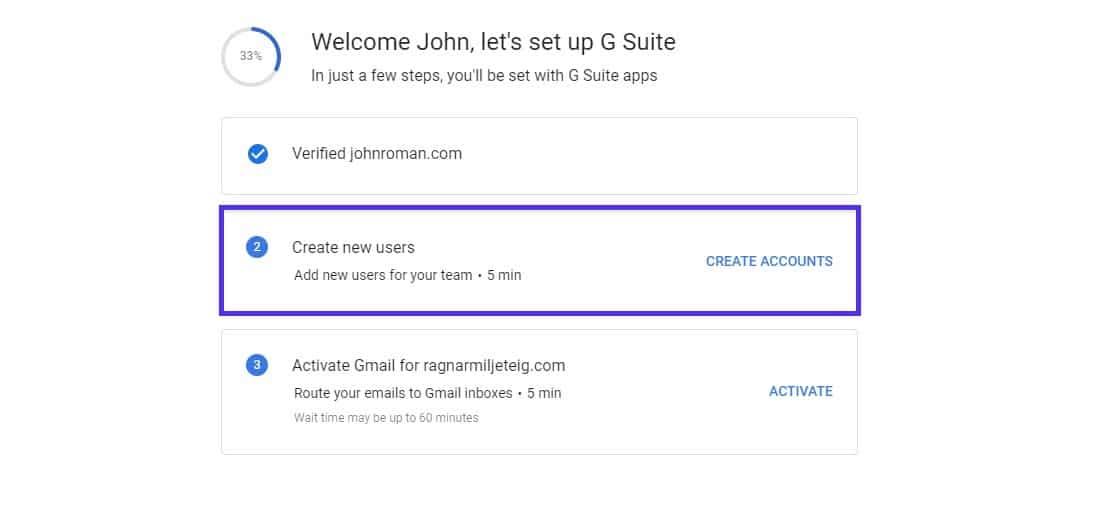 setup g suite account new users