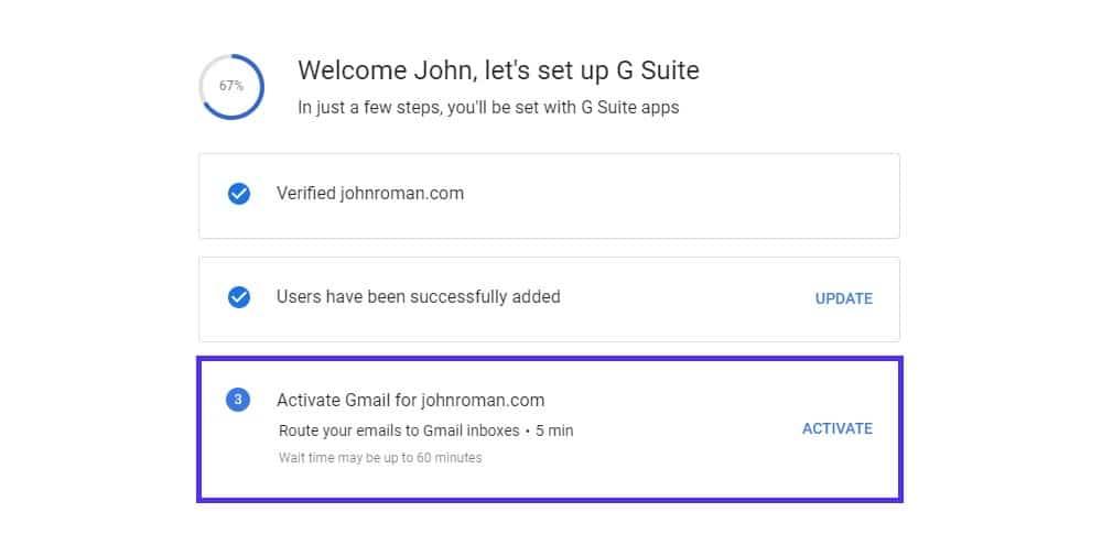 setup g suite account activate gmail