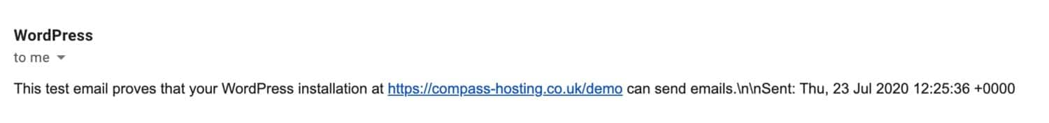 Email test received