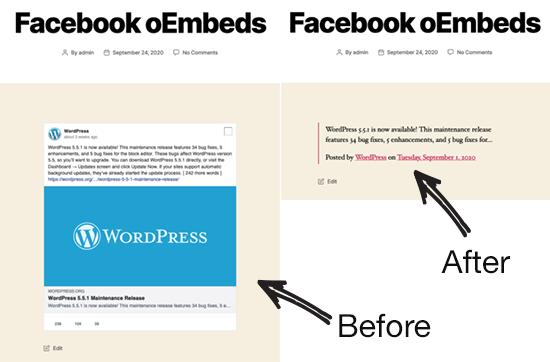 قبل و بعد Facebook oEmbed