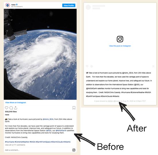 قبل و بعد تغییر API در محتوا Instagram oEmbed