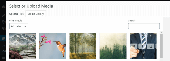 Viewing the uploaded images in the Windows Media Library