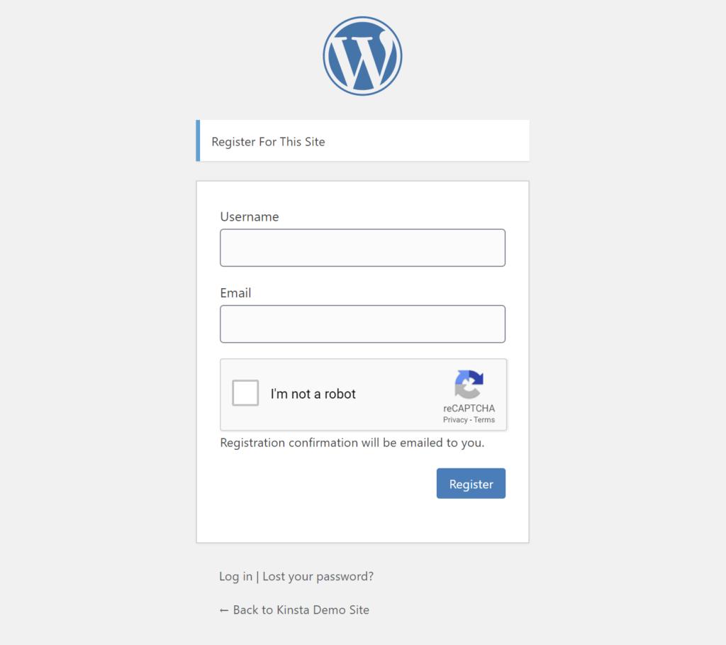 An example of reCAPTCHA on default registration form
