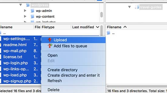Upload WordPress files to the subdirectory