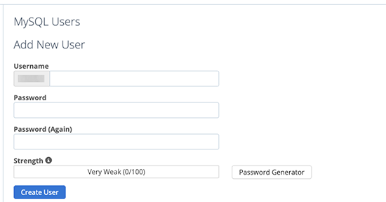 Create database user and password