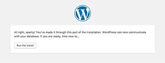WordPress database connected