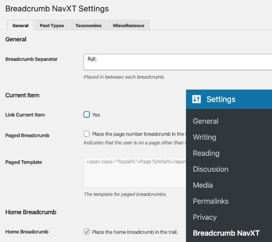 Settings page for Breadcrumb NavXT plugin