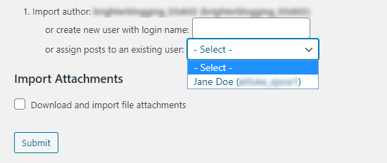 Selecting an author from the dropdown list to assign the pages to
