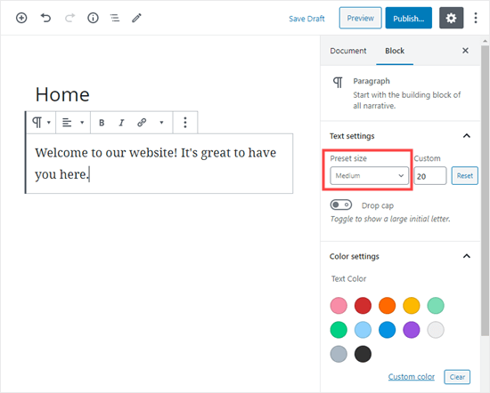 Changing the text size in the block editor