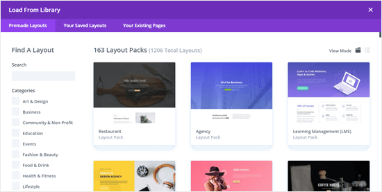 Just a few of the layout packs available in Divi