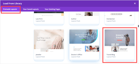 The Travel Blog layout pack in Divi