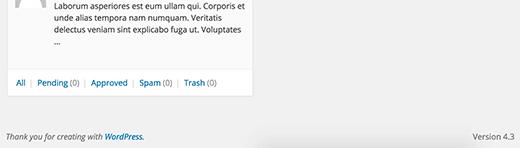 Default footer in WordPress admin area