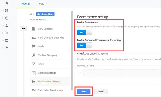 Enabling eCommerce settings in Google Analytics