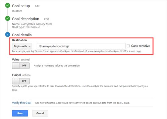 Entering the destination URL for your Google Analytics goal