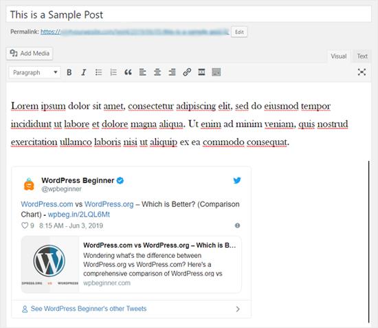 Tweet Embedded in Classic WordPress Editor