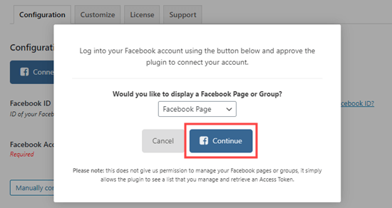 Continue connecting Facebook Feed Pro to Facebook