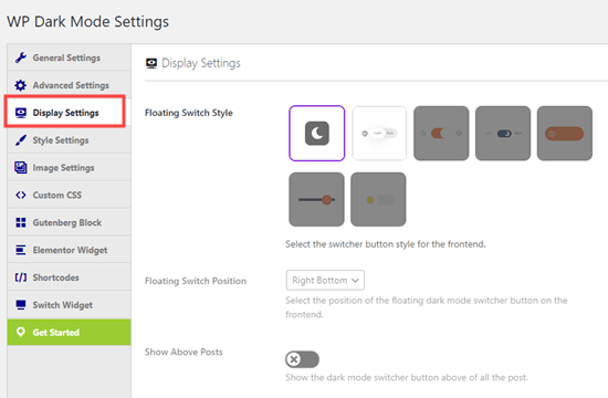 Choosing the type of night mode toggle button in the Display Settings