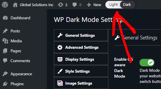 The toggle switch in your WordPress admin to switch between light (normal) and dark for your admin interface