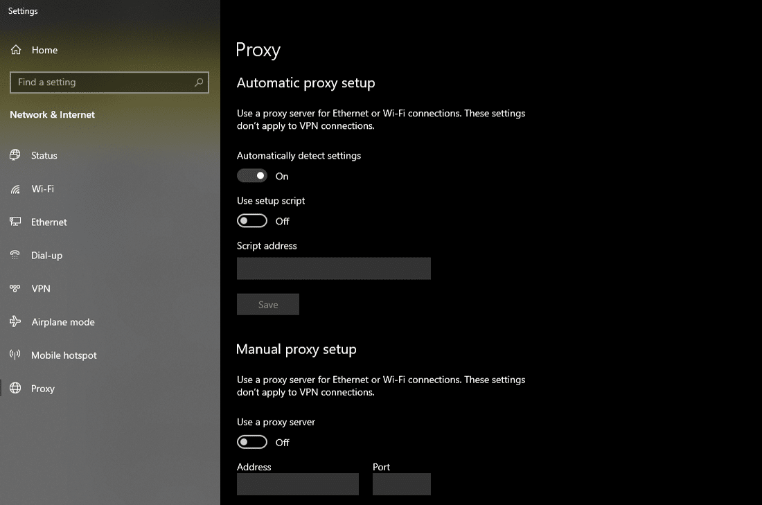 Changing the 'Proxy' settings in Windows 10
