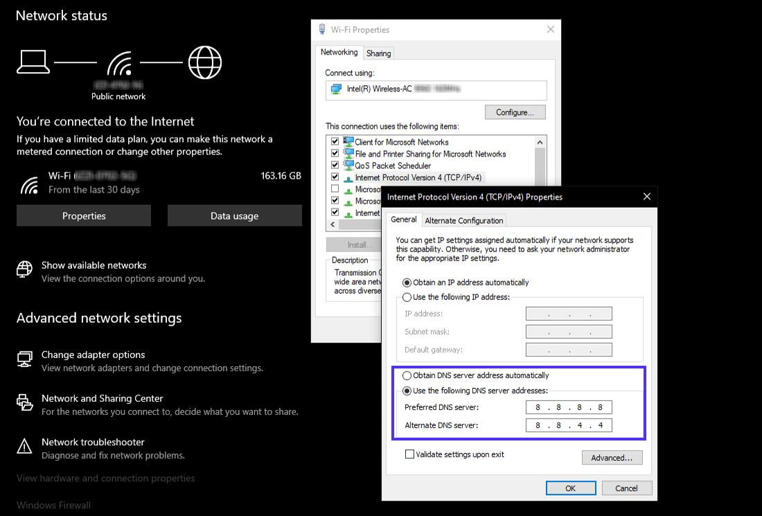 Settings custom DNS servers in Windows 10