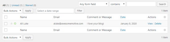 Table showing entered form data for name, email, and comment or message