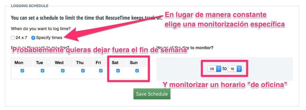 Cómo cambiar los dias y horas de monitorización en RescueTime