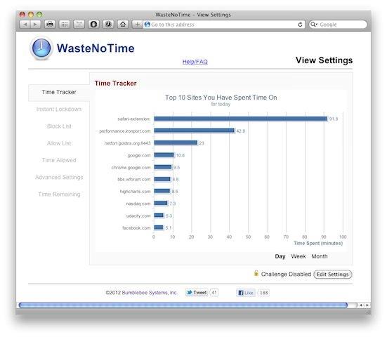 Bloquear webs con la extensión WasteNoTime