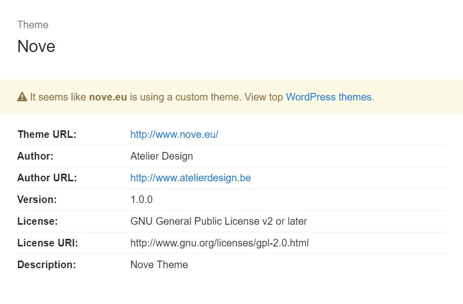 Результат Поиска Темы в Детекторе Тем WordPress What Theme by CodeinWP