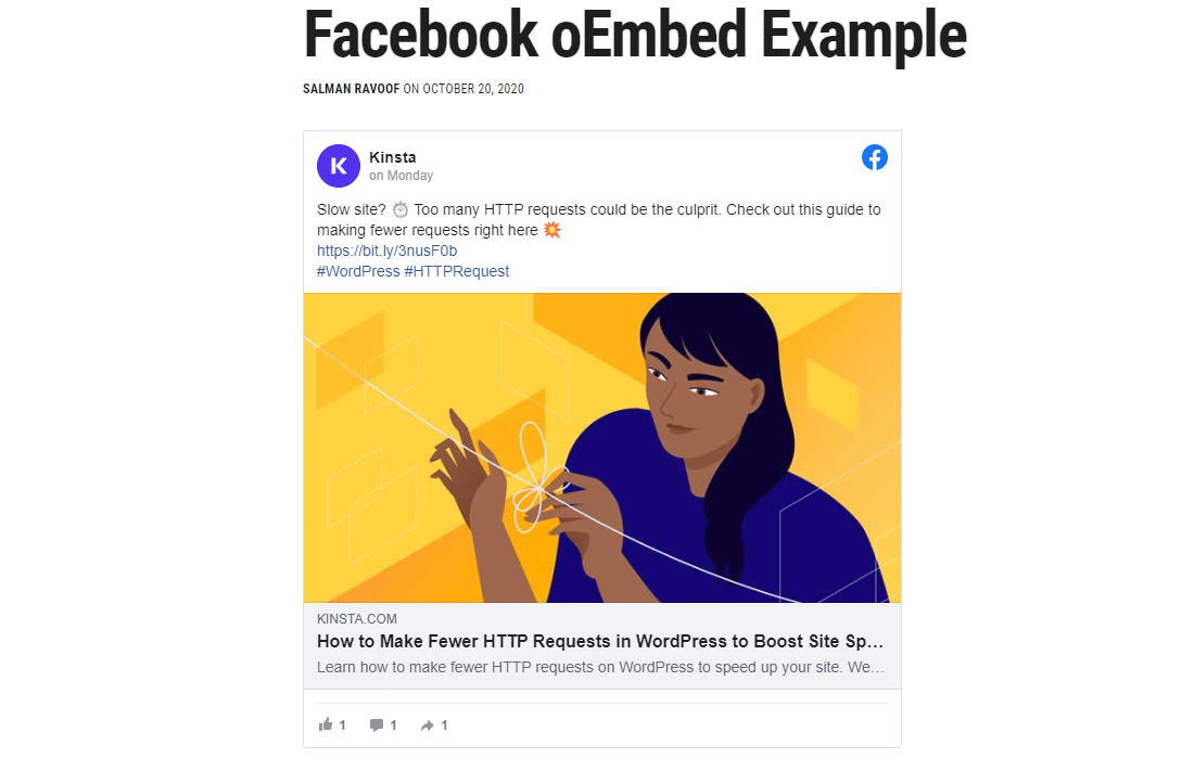 An example of how WordPress embeds Facebook content