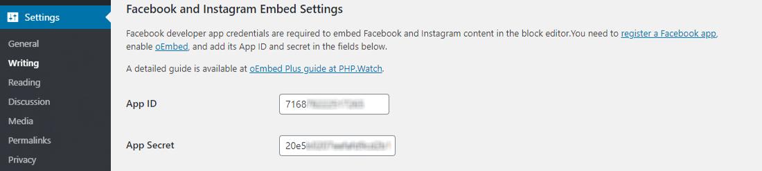 Configuring oEmbed Plus plugin settings