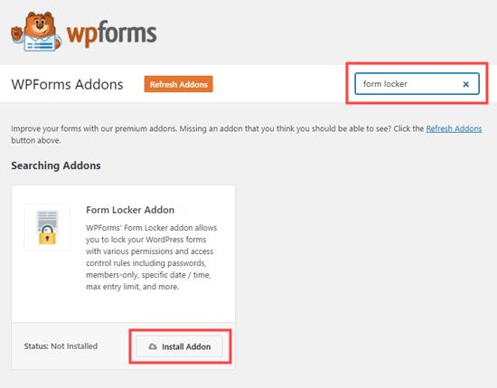 Installing the Form Locker addon for WPForms
