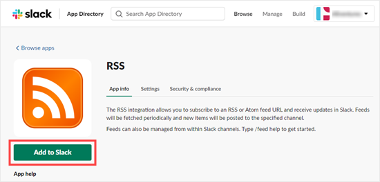 Adding the RSS app to your Slack workspace