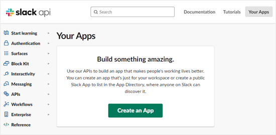 Creating a new app in Slack