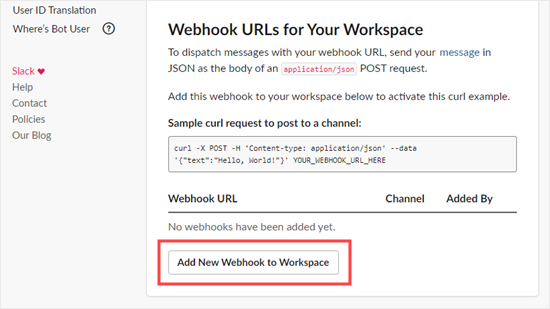 Click the button to add a new webhook to your workspace