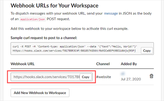 Getting the URL for your webhook