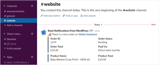 The Slack notification for a new order in WooCommerce