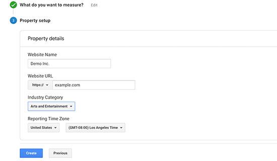 Google Analytics account settings