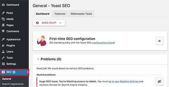 Yoast SEO settings